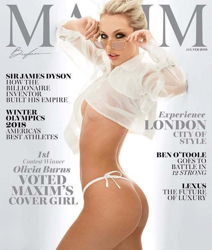 Оливия Бернс — сексуальная блондинка, в 2018 украсившая январскую обложку Maxim