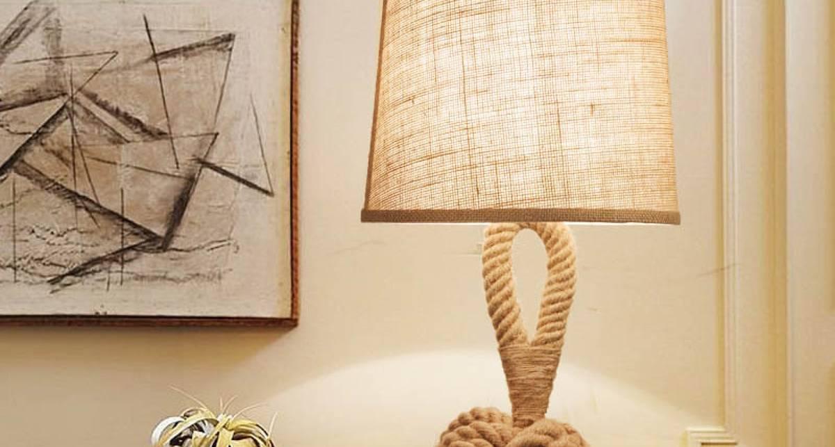 Как сделать настольную лампу из каната своими руками