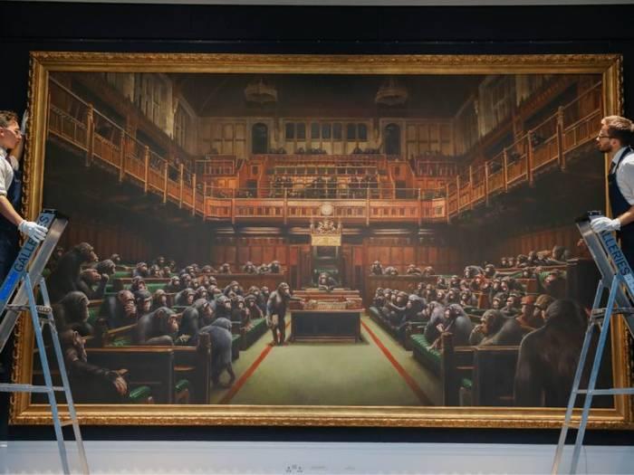 "Картина ""Деградировавший парламент"" граффитиста Banksy на торгах"