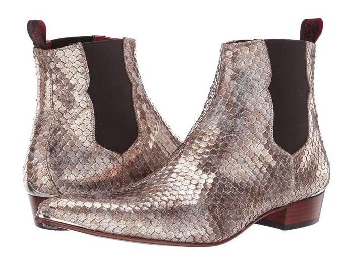 Модные остроносые челси с имитацией кожи крокодила