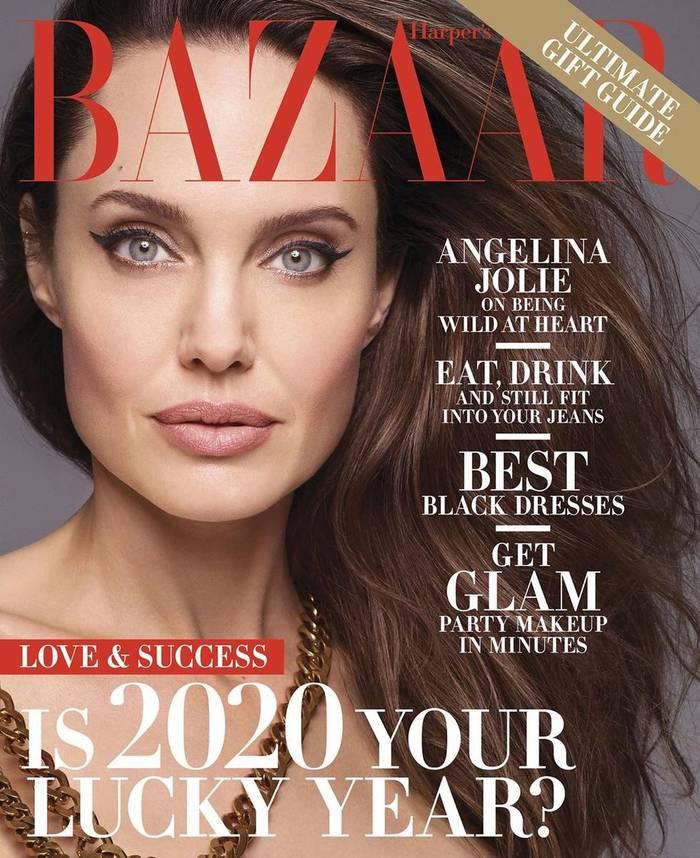 Анджелина Джоли для декабрьского Harper's Bazaar