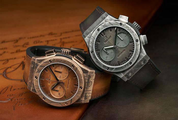 Classic Fusion Chronograph Berluti имеют кожаный циферблат. Помещены в титановый / бронзовый корпус