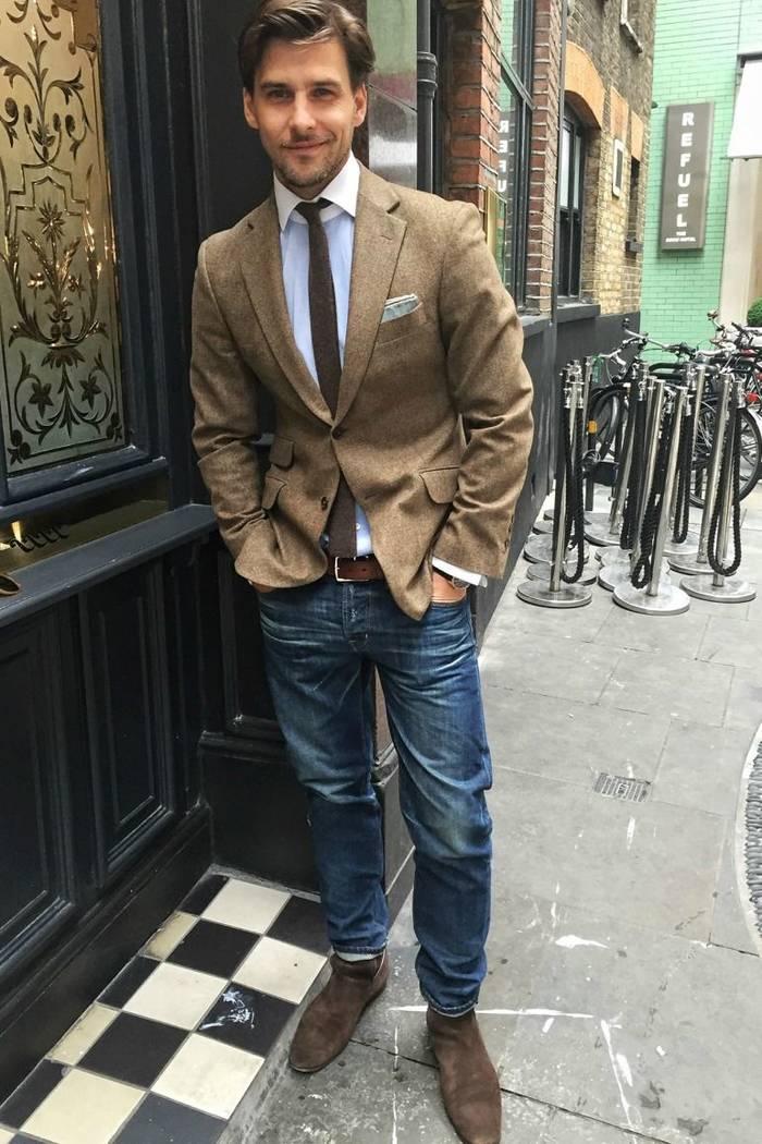 """Пиджак и джинсы - хороший комплект в стиле """"кэжуал"""""""