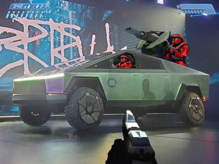 Дизайн Cybertruck напоминает об игровых интерфейсах