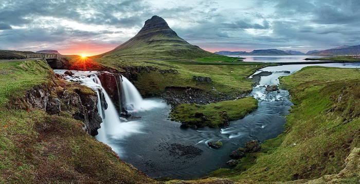 Исландия прекрасна отчасти благодаря водопадам и зеленым горам