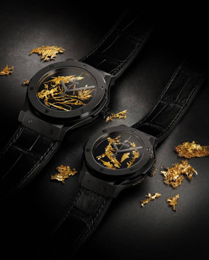 На циферблате Classic Fusion Gold Crystal от Hublot:- настоящие кристаллы золота