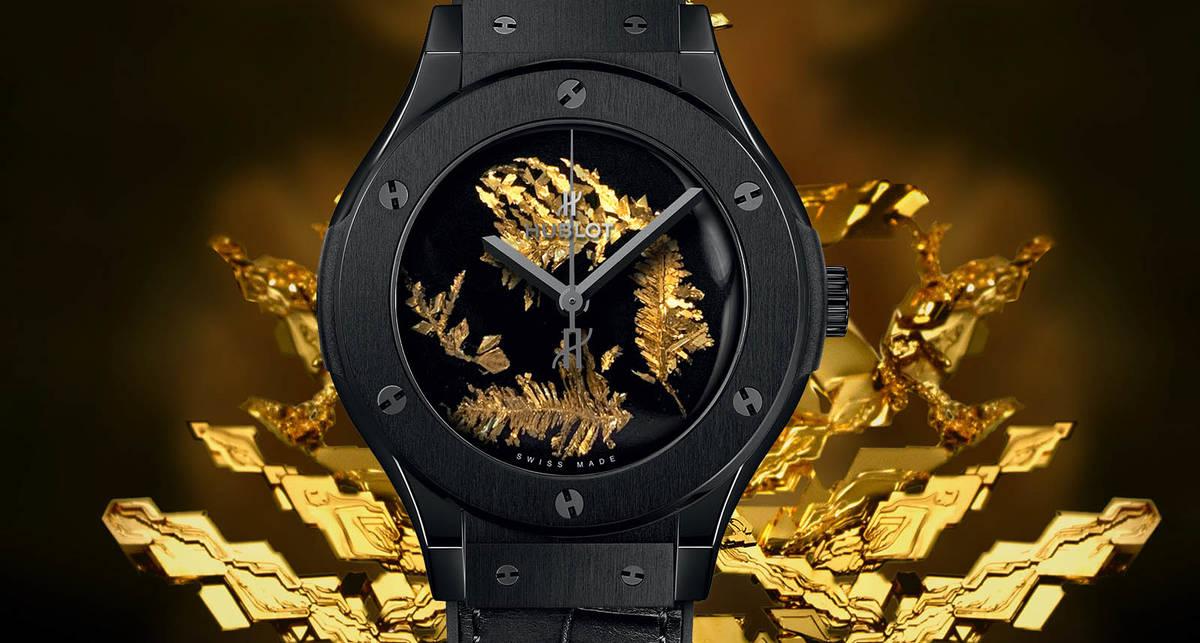 Classic Fusion Gold Crystal от Hublot: часы с украшенным золотыми кристаллами циферблатом