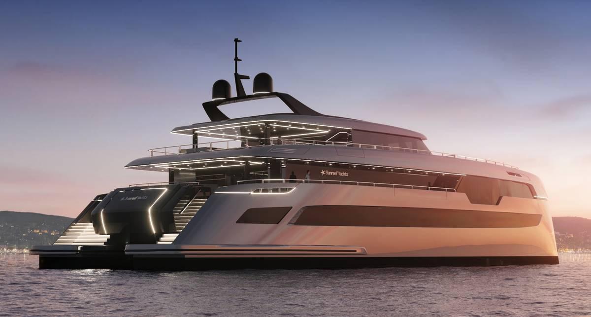 Лодка развлечений: 3400-сильная яхта 49M Sunreef Power с кинотеатром и клубом