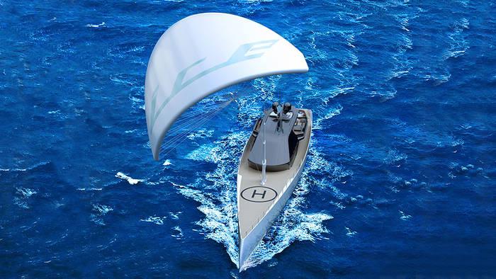 Огромный парус Ice Kite отлично дополняет 1000-сильный дизельный двигатель