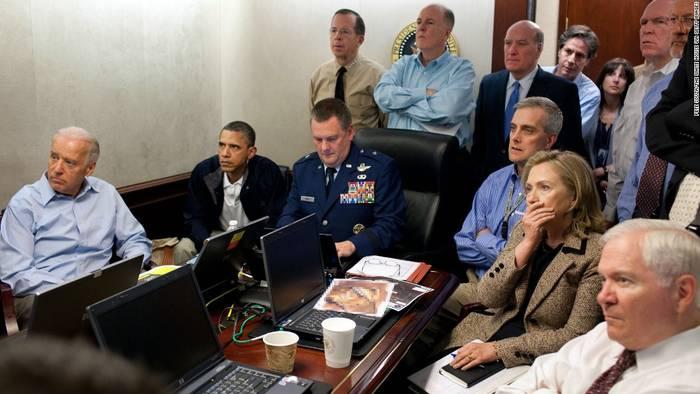 Барак Обама, Хиллари Клинтон и Джо Байден  Узнали про смерть бен Ладена