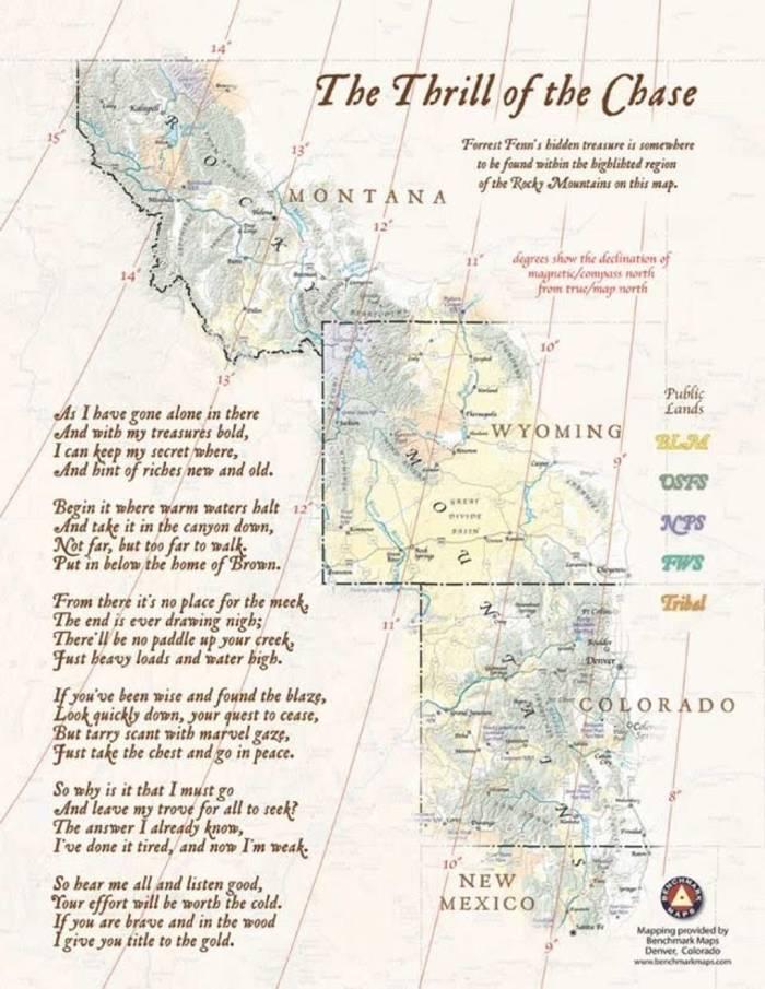 Карта местности, где спрятан клад и стих-подсказка