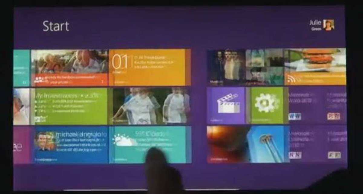Демонстрация интерфейса Windows 8 для планшетов