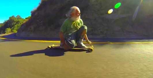Дед на лонгборде: крутой экстрим от 68-летнего американца