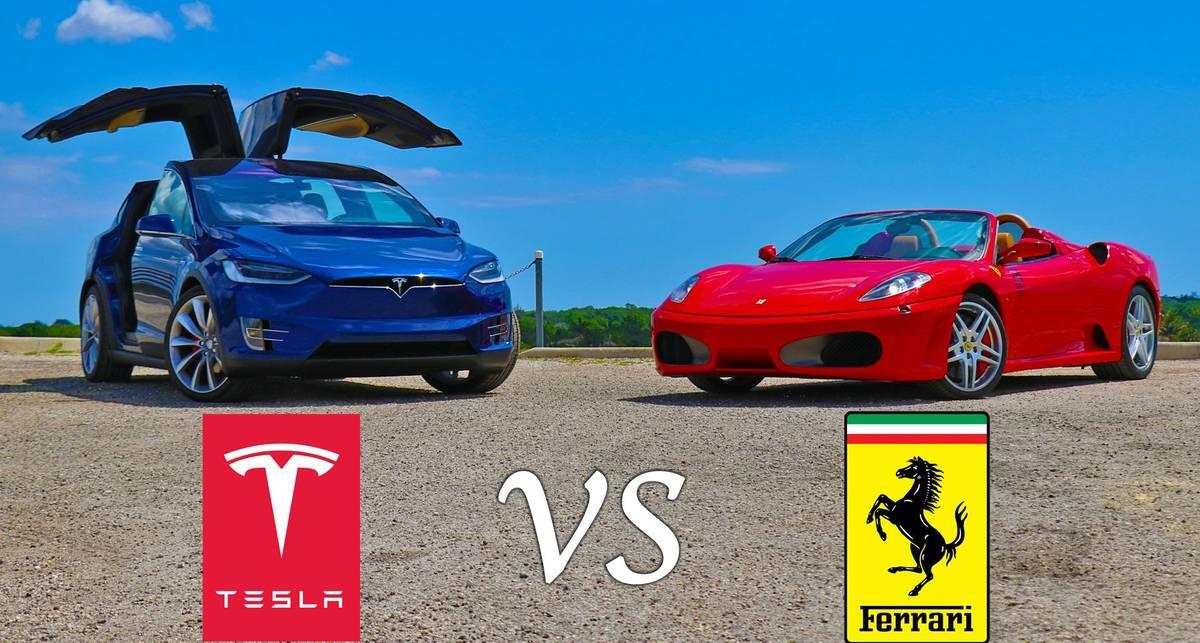 Tesla Model X P90D против Ferrari F430 Spider: кто круче