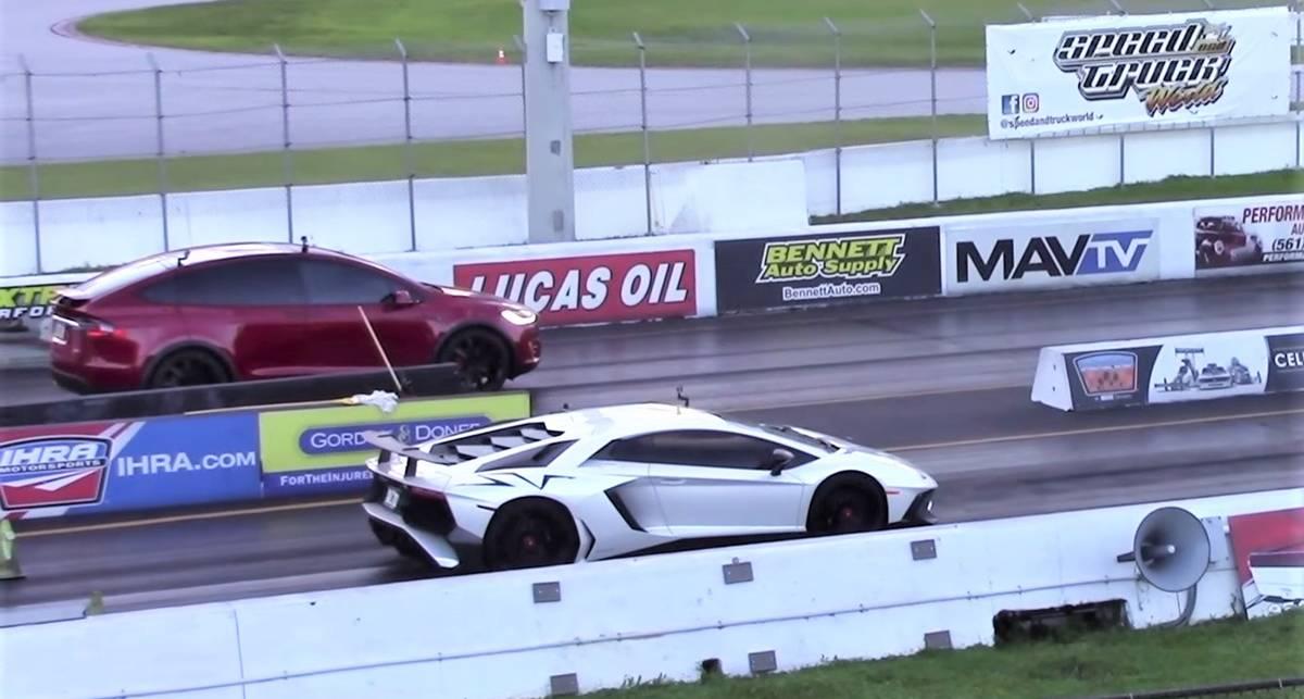 Tesla Model X против Lamborghini Aventador SV: кто кого