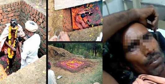 Спасатели откопали мужчину, который похоронил себя, чтобы стать богом