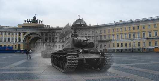 Художник вывел танки в центр Петербурга