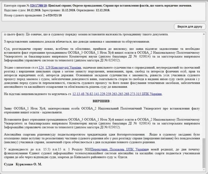 Скриншот решения суда из Реестра судебных решений (reyestr.court.gov.ua)