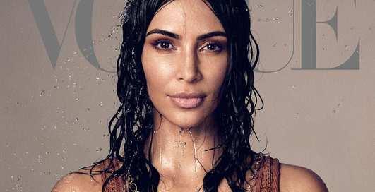 Мокрая и почти голая: Ким Кардашьян впервые снялась для американского Vogue